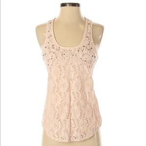 Express Pink Lace & Pearls Racerback Tank Top